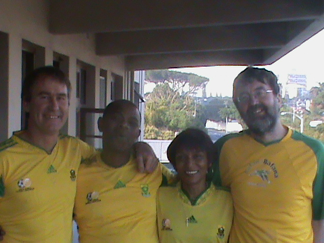 Phuhlisani Cape Town partners David Mayson, Boyce Williams, Ursula Smith and Rick de Satge waiting for kickoff