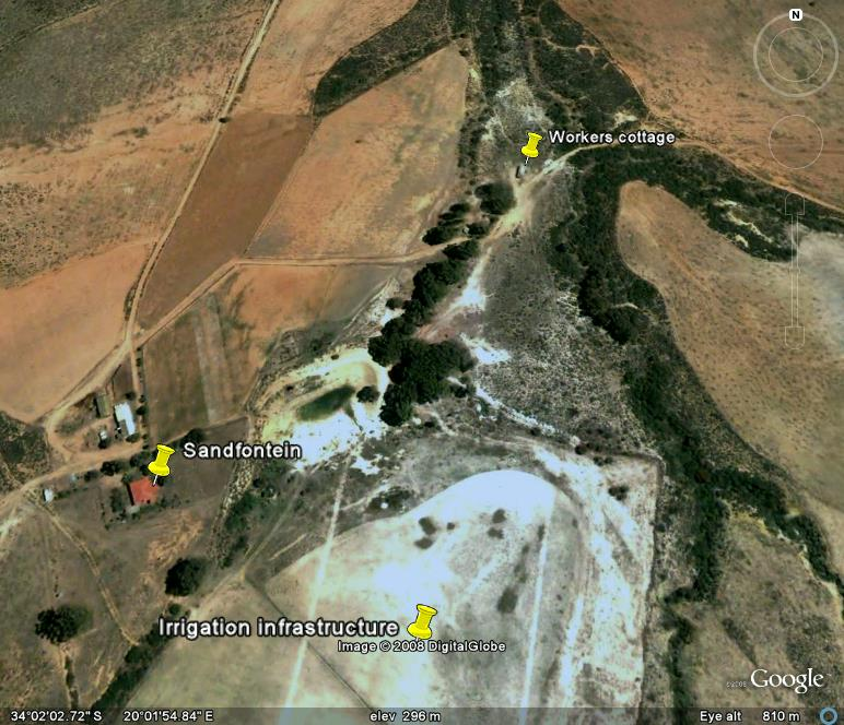 Google earth image of Sandfontein